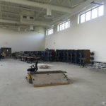 Gym with cafeteria tables